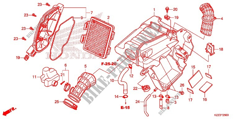 Honda MOTO 250 CRF 2014  CRF250ME Frame FRONT COVER/AIR CLEANER
