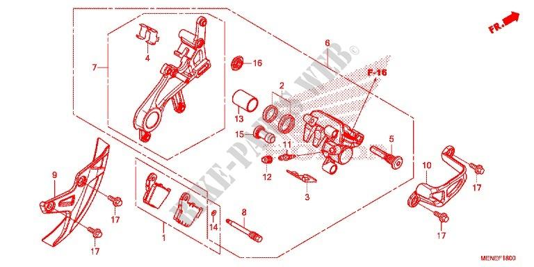 Honda CRF450R 2014 Rear Brake Pad Retaining Caliper Pin Kit ...