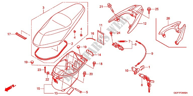 SEAT LUGGAGE BOX Frame NSC50E 2014 VISION 50 SCOOTER Honda ...