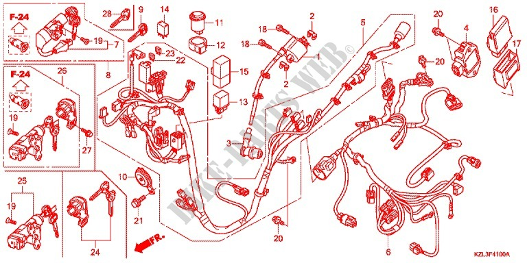 Wire Harness  Battery For Honda Vision 110 2013   Honda