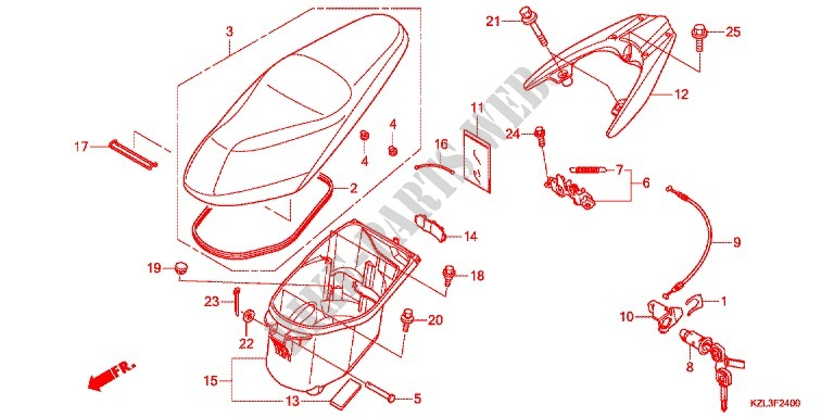 seat/luggage box - dio vision 110 nsc110whb 2011 australia, Wiring diagram