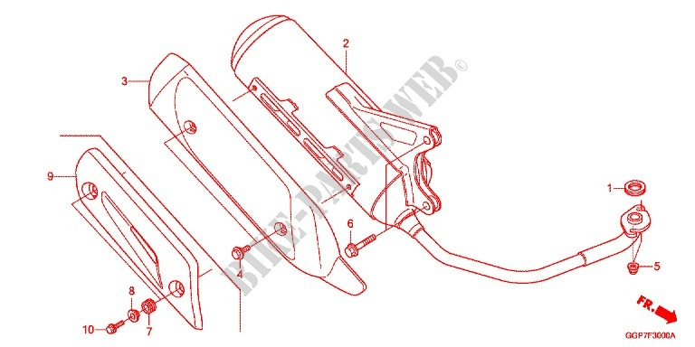 EXHAUST MUFFLER 2 Frame NSC50MPDE 2014 VISION 50 SCOOTER Honda ...