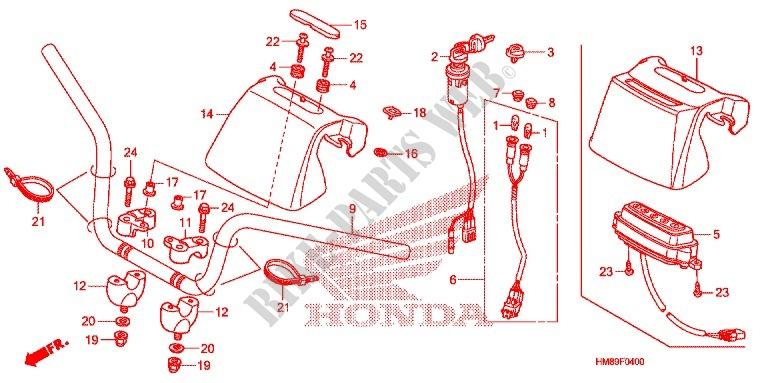 handle pipe frame trx250tmd 2013 fourtrax 250 atv honda motorcycle