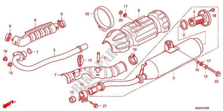 EXHAUST MUFFLER 2 Frame TRX500FAD 2013 FOURTRAX 500 ATV Honda