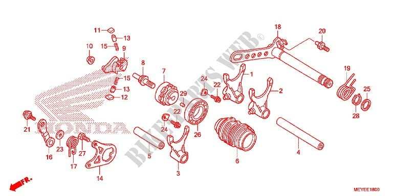 Gearshift Drum Shift Fork Engine Crf450xe 2014 Crf 450 Moto Honda. Honda Moto 450 Crf 2014 Crf450xe Engine Gearshift Drumshift Fork. Honda. Honda Crf 450 Engine Diagram At Scoala.co