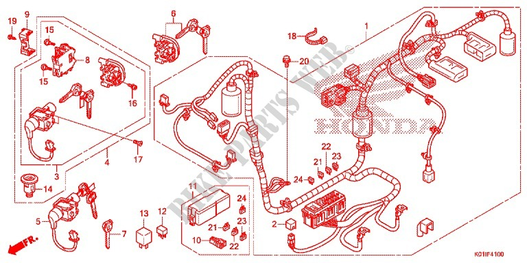 Wire Harness  Battery For Honda Sh 125 Abs Special 2e 2014   Honda Motorcycles  U0026 Atvs Genuine