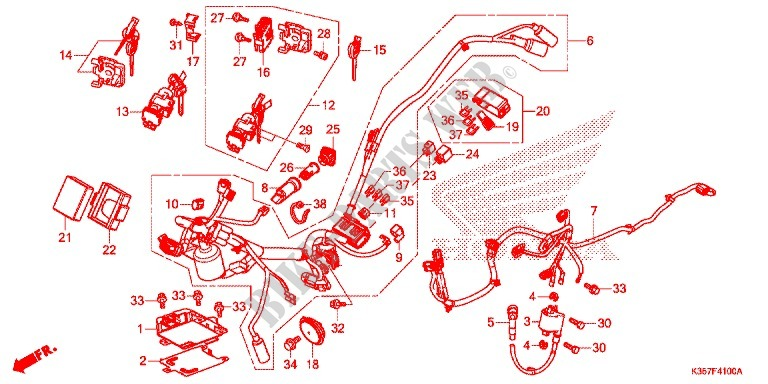WIRE HARNESS/BATTERY for Honda PCX 125 SPECIAL EDITION 2015 ... on