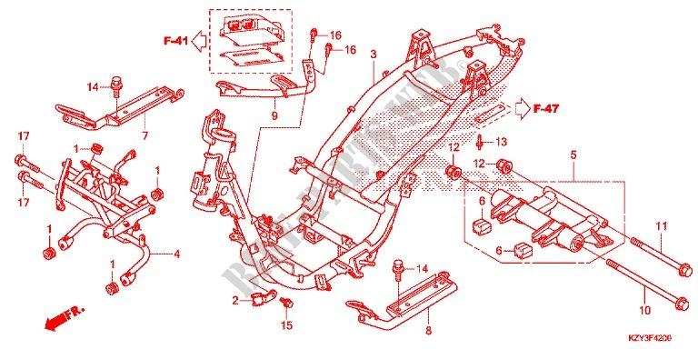 Frame For Honda Pcx 150 2012   Honda Motorcycles  U0026 Atvs Genuine Spare Parts Catalog