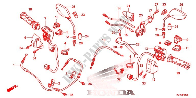 Lever Switch Cable  1  For Honda Pcx 150 2012   Honda Motorcycles  U0026 Atvs Genuine Spare Parts Catalog