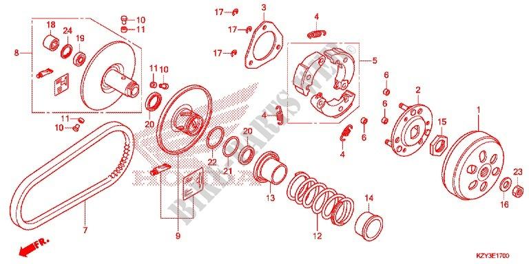 Clutch For Honda Pcx 150 2014   Honda Motorcycles  U0026 Atvs Genuine Spare Parts Catalog