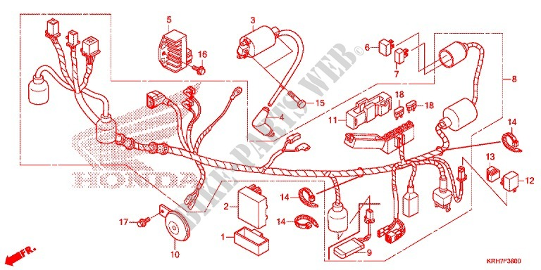 WIRE HARNESS/BATTERY for Honda XR 150 2014 # HONDA ... on