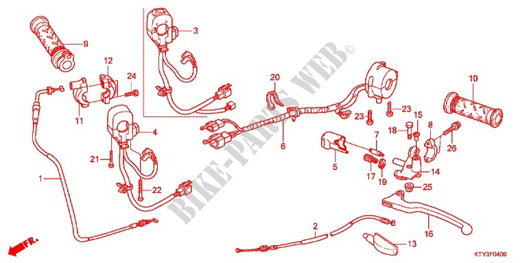 Honda MOTO 125 CBR 2011  CBR125RWB Frame HANDLE LEVER/SWITCH/CABLE (1)