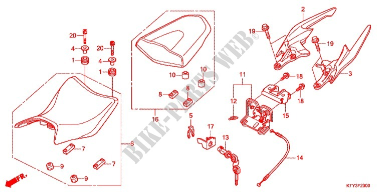 SINGLE SEAT (2) for Honda CBR 125 2011