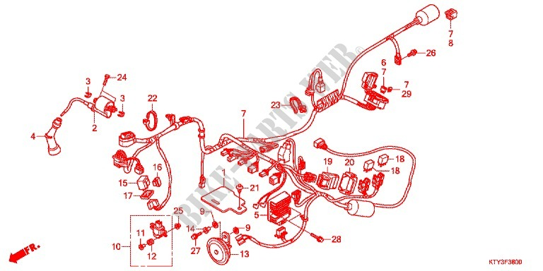 WIRE HARNESS/BATTERY for Honda CBR 125 2011 # HONDA ... on