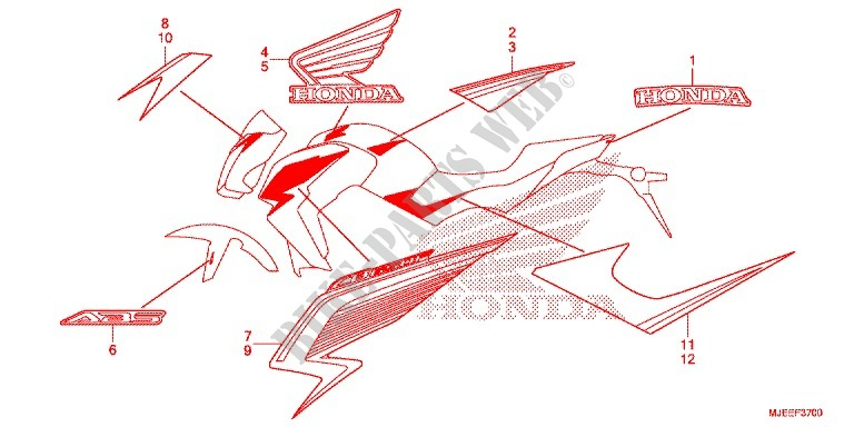 STICKERS for Honda CB 650 F ABS TRICOLOR 2014