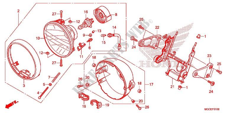 honda moto 1100 cb 2014 cb1100sae frame headlight/speedometer (2)