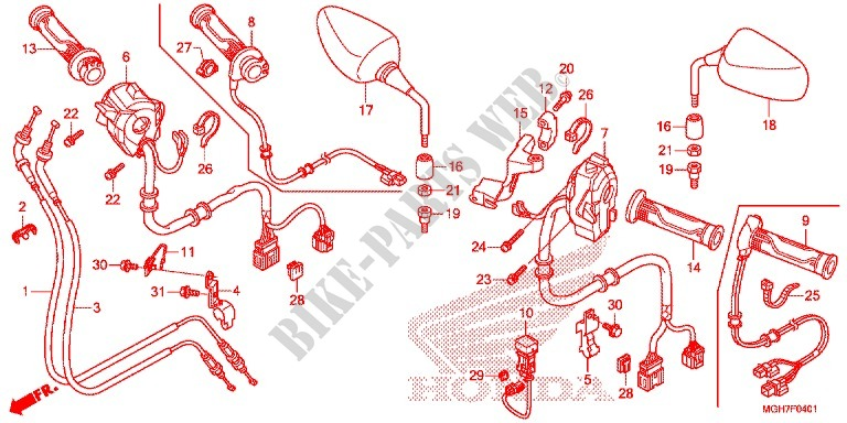 Switch Cable Mirror  Vfr1200xd  Xda  Xdl  Xds  For Honda