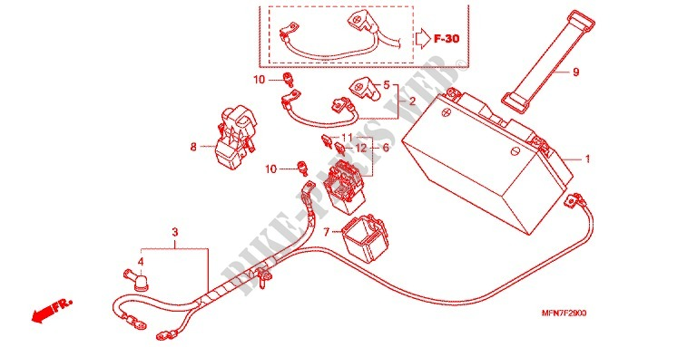 WIRE HARNESS/BATTERY for Honda CB 1000 R 2010 # HONDA ... on
