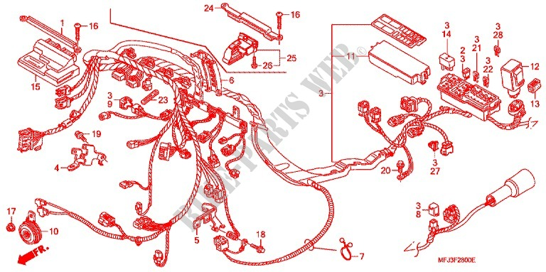 wire harness battery for honda cbr 600 rr 2008 honda. Black Bedroom Furniture Sets. Home Design Ideas