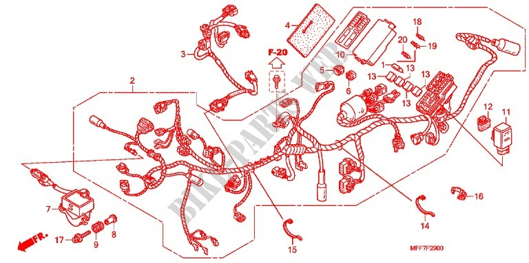 Wire Harness  Battery For Honda Transalp 700 Abs 2010