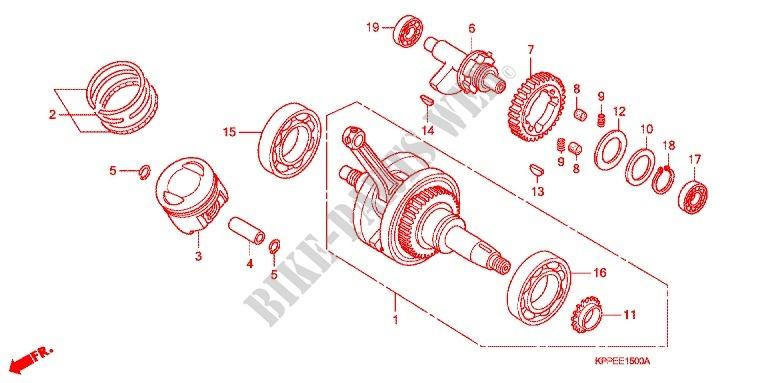 honda moto 125 cbr 2009 cbr125rw9 engine crank shaft/piston