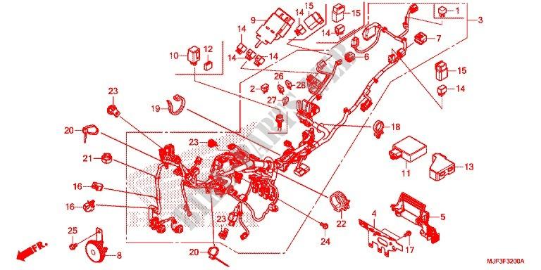 wire harness battery for honda africa twin 1000 white 2016 honda Xplod Wiring Diagram