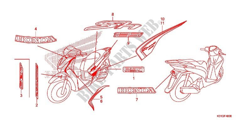 Stickers  1  For Honda Sh 125 Abs Ds 2016   Honda