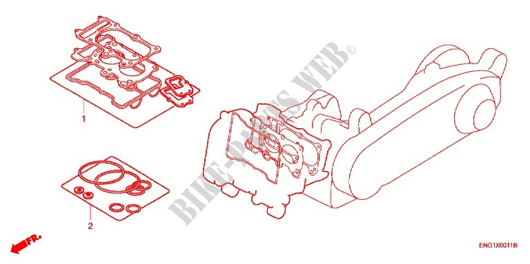 honda scooter 400 silverwing 2009 fjs400a9 engine gasket kit a
