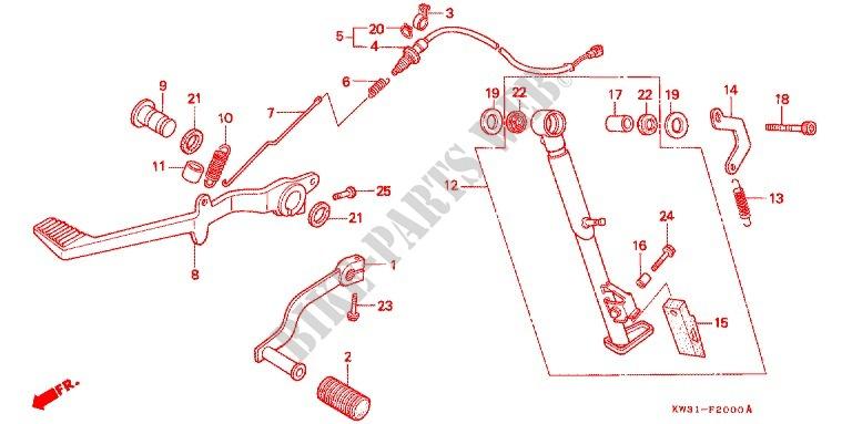 honda moto 250 nx 1988 nx250j_j frame brake pedal/change pedal