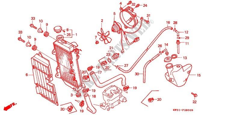 Radiator For Honda Nx 250 Ax1 1988   Honda Motorcycles  U0026 Atvs Genuine Spare Parts Catalog