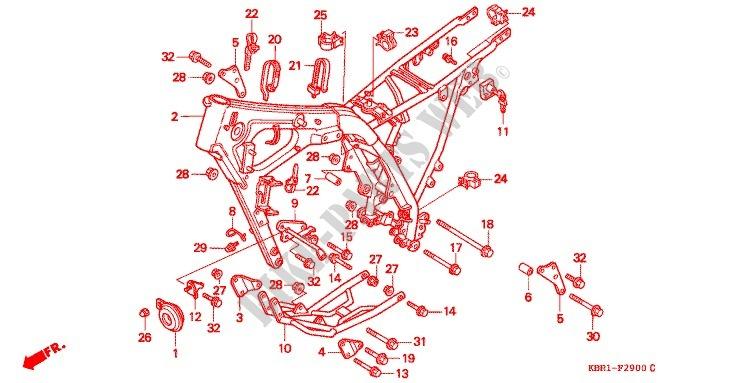 Frame For Honda Xl 250 Degree 1995   Honda Motorcycles  U0026 Atvs Genuine Spare Parts Catalog