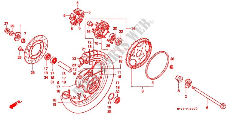 Rear Wheel For Honda Africa Twin 750 1995   Honda Motorcycles  U0026 Atvs Genuine Spare Parts Catalog