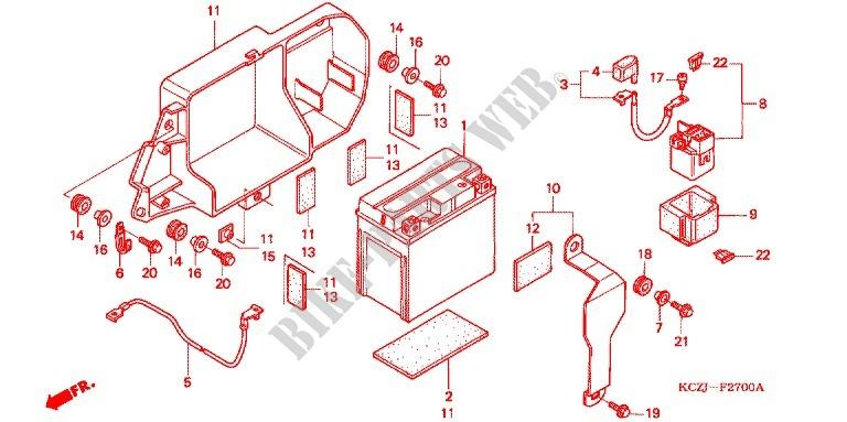 honda moto 250 xr 2000 xr250y frame wire harness/battery