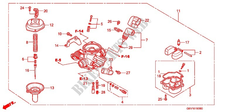 carburetor 2 engine skx502 2002 dio 50 scooter honda motorcyclehonda scooter 50 dio 2002 skx502 engine carburetor (2)