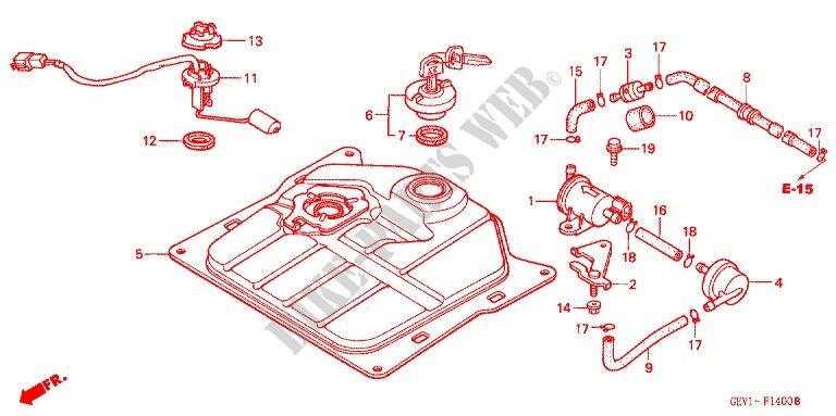 FUEL TANK for Honda 50 SMART DIO Z4 2002 # HONDA Motorcycles & ATVS Genuine  Spare Parts CatalogBike Parts-Honda