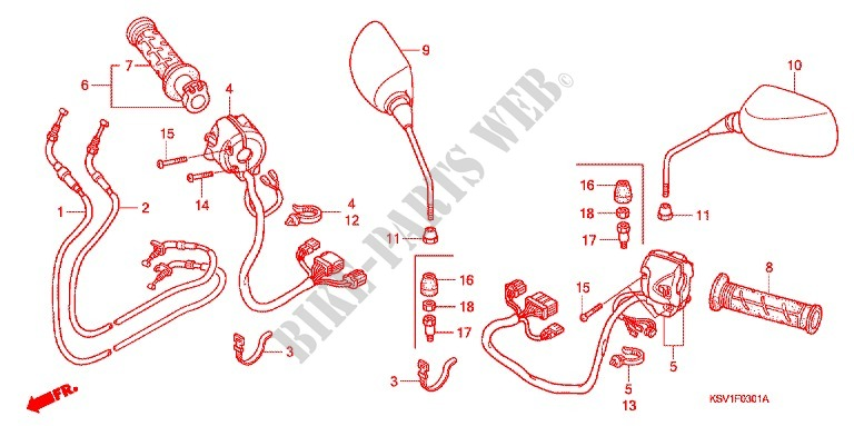Switch Cable Mirror  Nss250  A  For Honda Forza 250 Z 2004