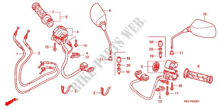 Switch Cable Mirror  Nss250c  For Honda Forza 250 X 2004