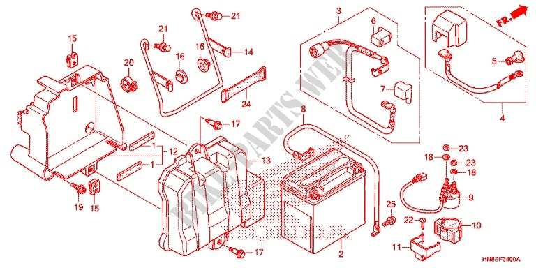 Wire Harness  Battery For Honda Fourtrax 680 Rincon 2016