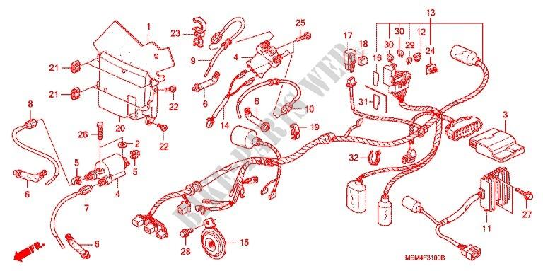 WIRE HARNESS/BATTERY for Honda VTX 1300 C 2007 # HONDA Motorcycles & ATVS  Genuine Spare Parts CatalogBike Parts-Honda