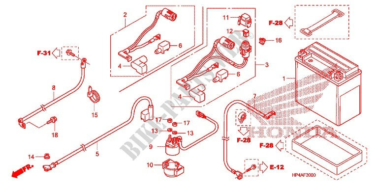 honda atv 420 fourtrax 2009 trx420fm9 frame wire harness/battery