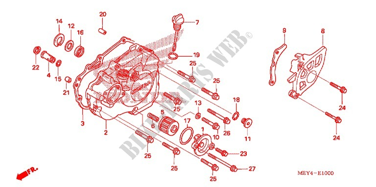 LEFT HAND CRANKCASE COVER for Honda CRF 450 X 2005