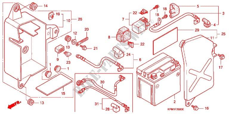 WIRE HARNESS BATTERY Honda MOTO 223 FTR 2000 FTR223Y F_26 wire harness battery frame ftr223y 2000 ftr 223 moto honda