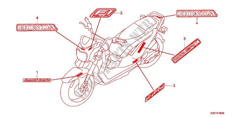 stickers (1) for honda zoomer 110 x 2014 # honda motorcycles & atvs genuine  spare parts catalog  bike parts-honda
