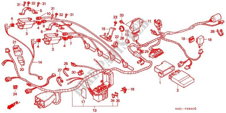 WIRE HARNESS IGNITION COI L Honda MOTO 250 CBR 1992 CBR250RRN F_28 cbr 250 wiring diagram schematics wiring diagrams \u2022