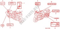CAUTION LABEL (1) for Honda CBR 954 FIREBLADE 2002
