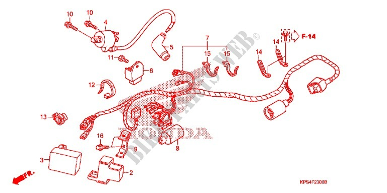 Wire Harness Battery Frame Crf230f3 2003 Crf 230 Moto