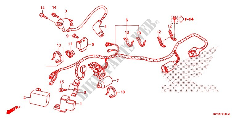 Wire Harness  Battery For Honda Crf 230 F 2014   Honda