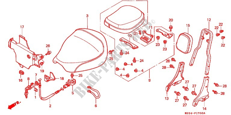 SINGLE SEAT (2) for Honda VALKYRIE 1500 RECT. MIRROR 1997 ...