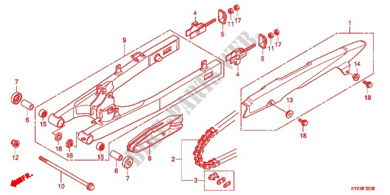Swingarm Chain Case For Honda New Mega Pro 150 Pgmfi  Casted Wheels 2011   Honda Motorcycles