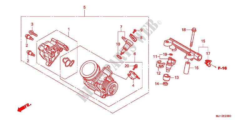 THROTTLE BODY (NPS508/9) for Honda NC 750 DRIVING SHOOL YA